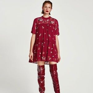Zara red floral embroidered dress